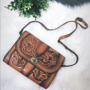 VINTAGE 1940's Hand Tooled Western Leather Purse